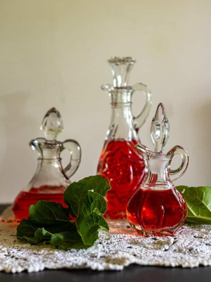 Red vinegar in antique cruets.