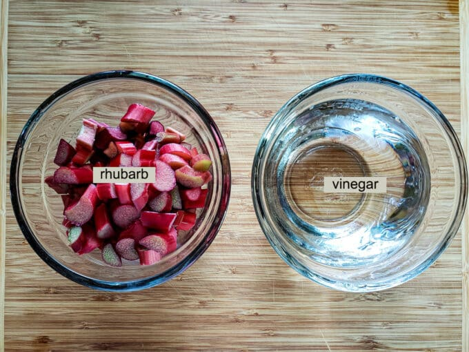 Ingredients for rhubarb vinegar; white vinegar and rhubarb.