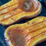Roasted butternut squash Pinterest image with text overlay.