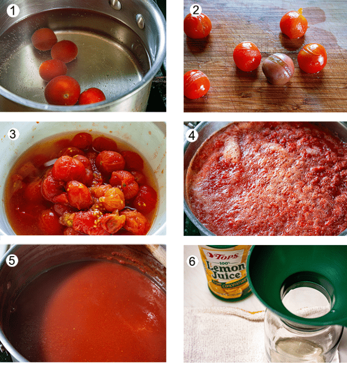 Blanch toaties. Peel split tomatoes. Add tom bowl. Place all tomatoes in large pot. Cook sauce down by half. Add lemon juice to jar.