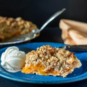 Slice of apricot pie on vintage blue enamel plate.