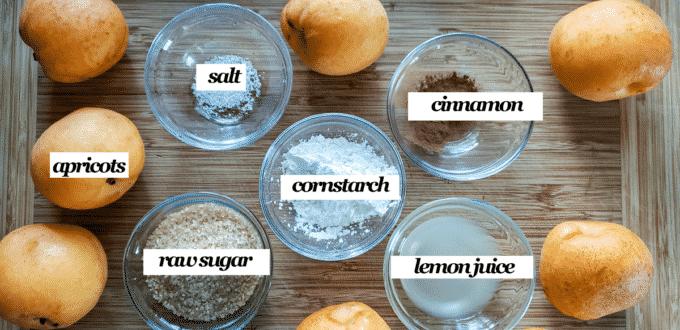 Ingredients for filling- apricots, cinnamon slat, raw sugar, cornstarch, lemon juice.