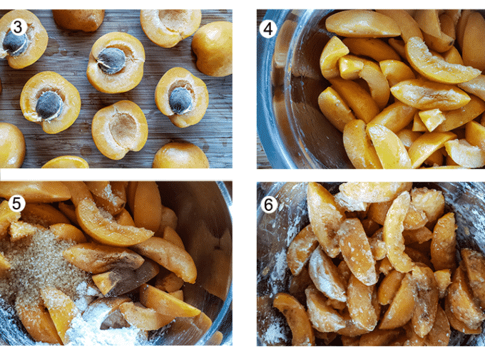 halved apricots. Apricots sliced. remaining ingredients added. Filling mixed up.