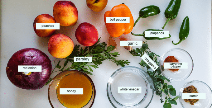 Ingredients for peach salsa; red onion, peaches, bell pepper, jalapenos, cayenne pepper, cumin, oregano, garlic, parsley white vinegar, honey.