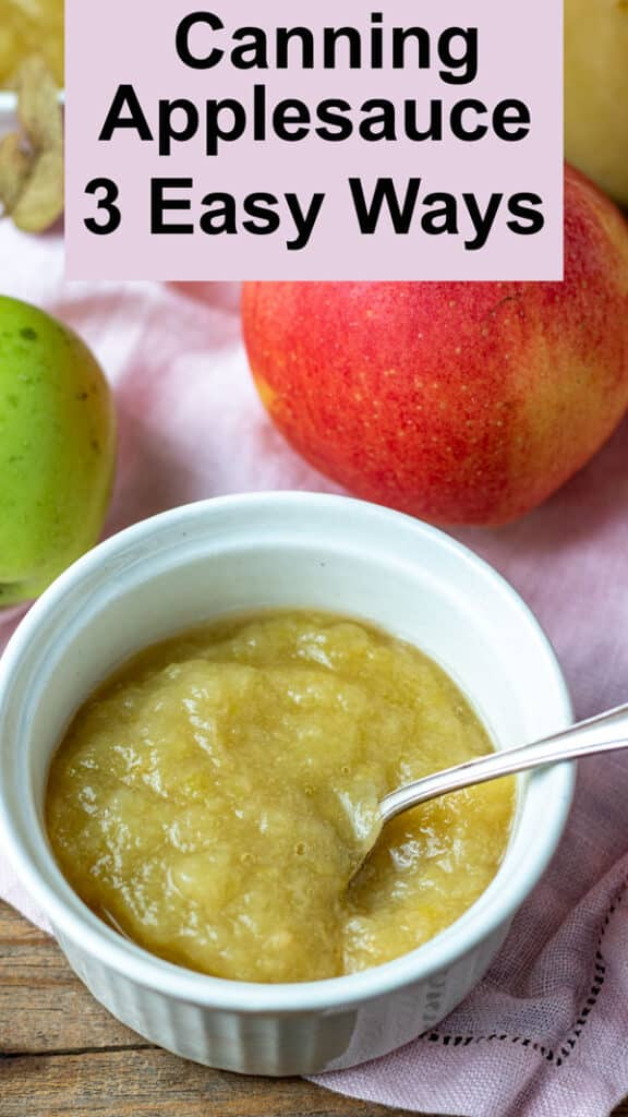 Applesauce Pinterest image with text overlay.
