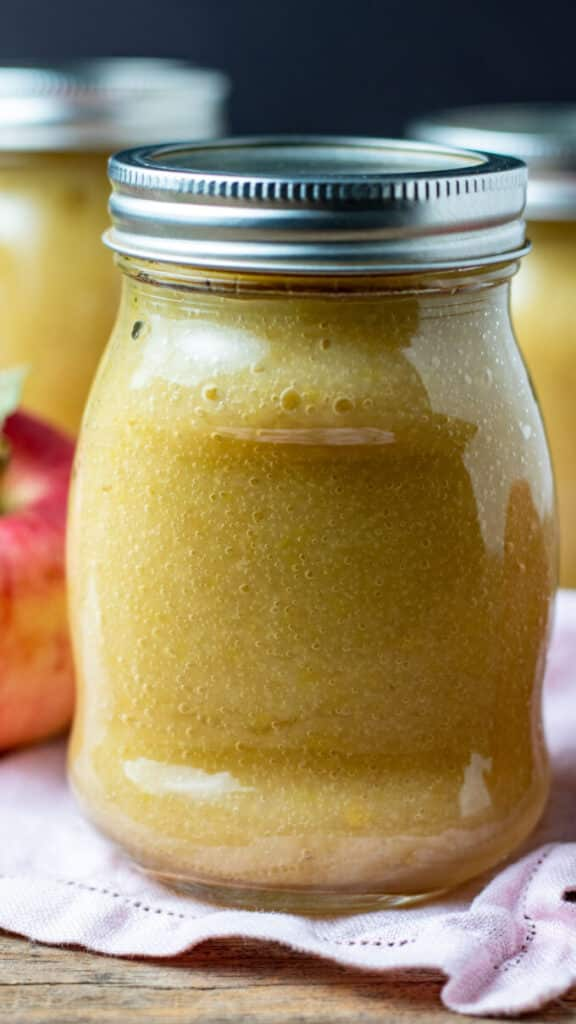 Close up of one jar of applesauce.