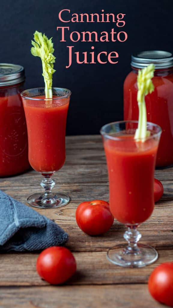 Tomato juice Pinterest image with text overlay/