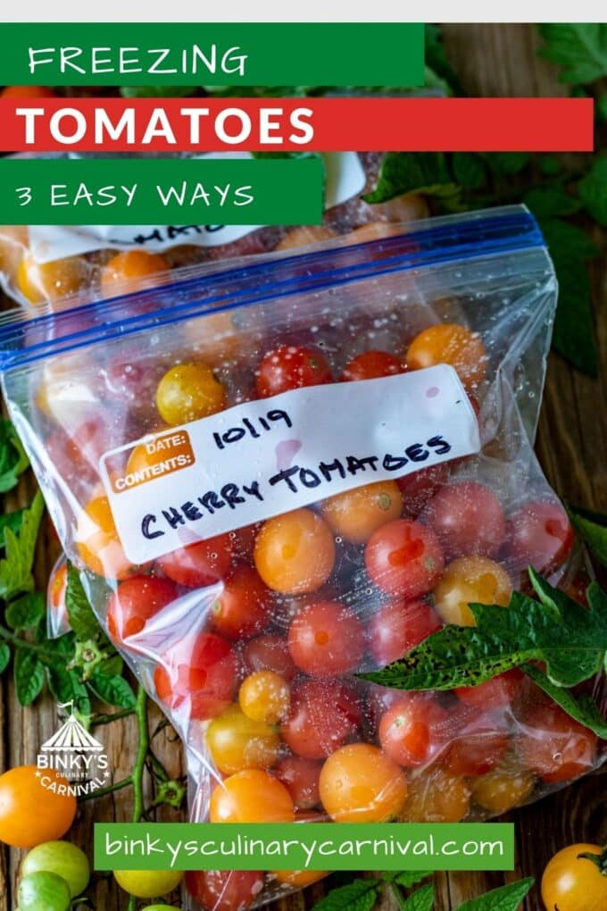 Freezing Tomatoes 3 easy ways Pinterest Pin with text overlay