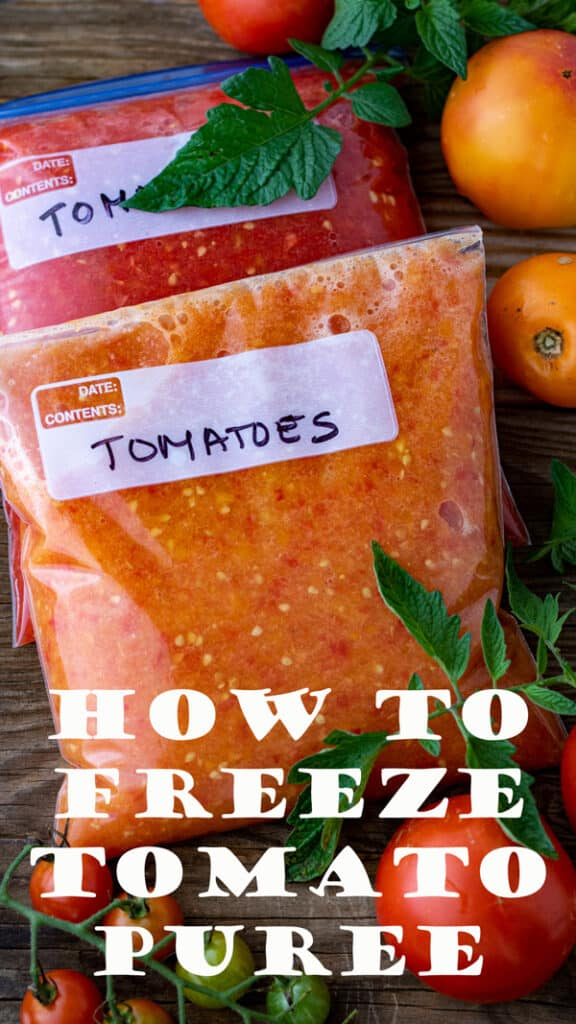 Freezing tomatoes Pinterest image with text overlay.