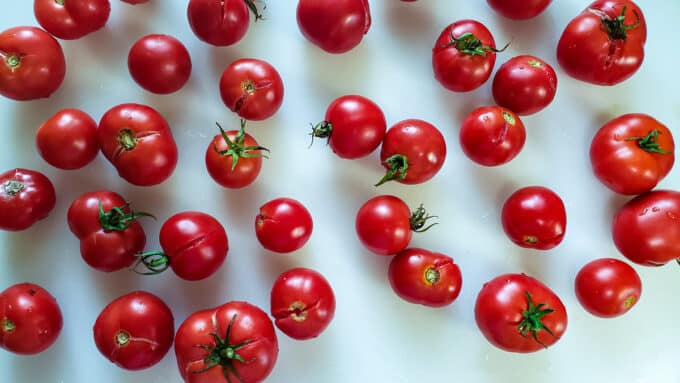 Fresh tomatoes on white board.
