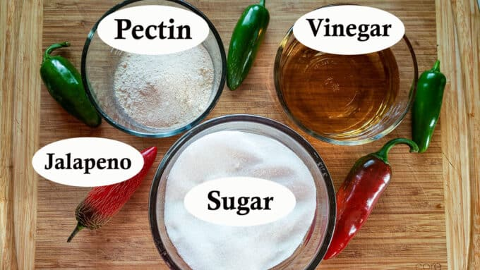 Ingredients for jalapeno jelly. See recipe for details.