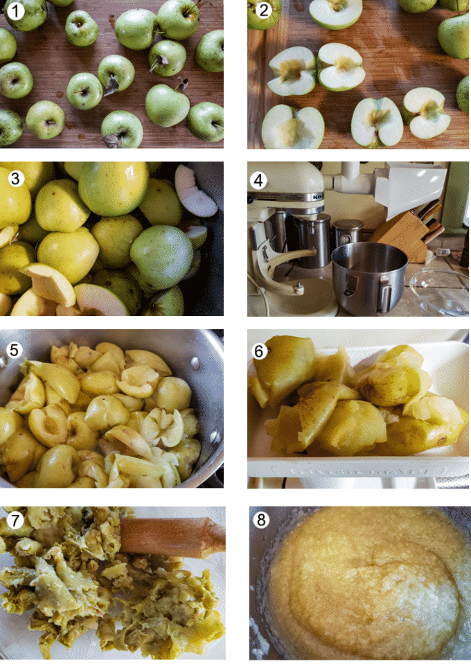 Making applesauce process collage- details in recipe below.