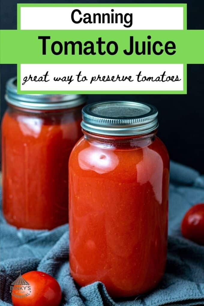 Canning Tomato Juice Pinterest Pin with text overlay
