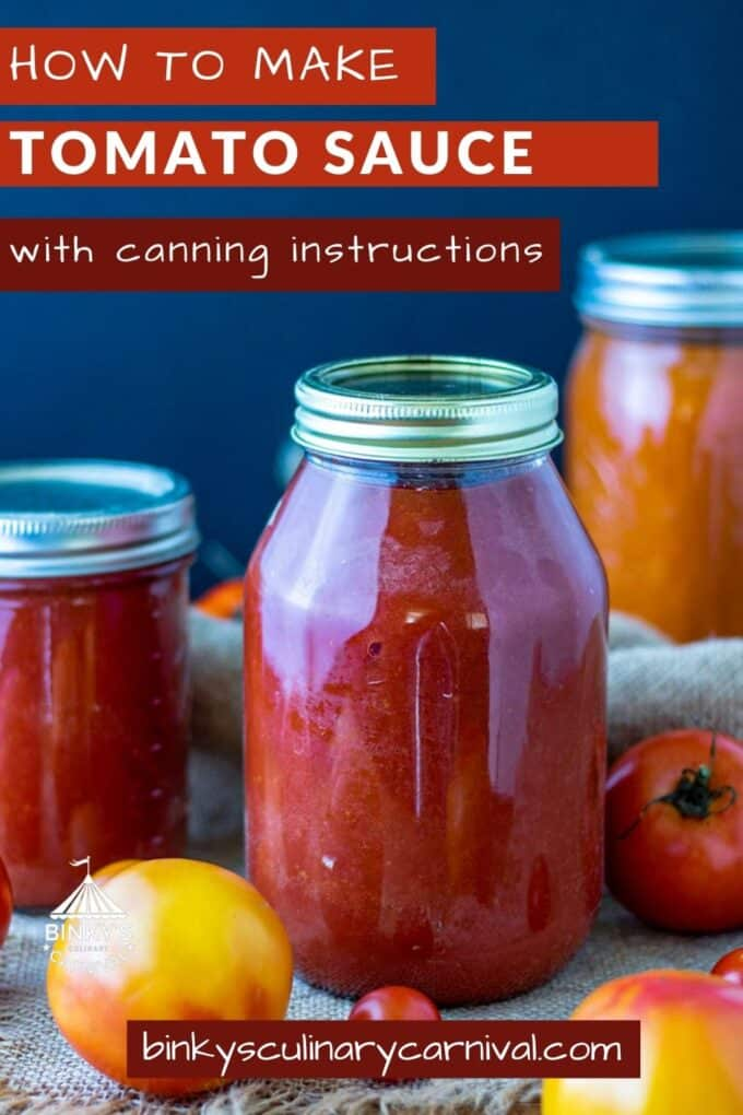 Canning Tomato Sauce Pinterest Pin with text overlay