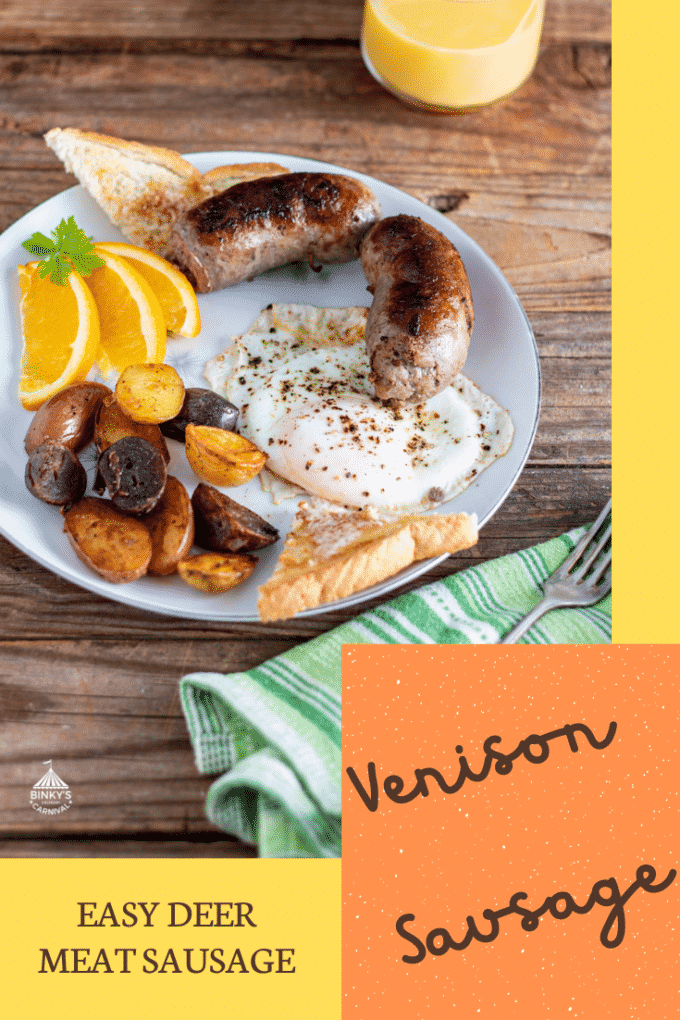 Venison sausage Pinterest image with text overlay.