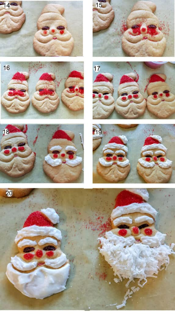 collage of photos explaining how to decorate cookies. Details in recipe below.