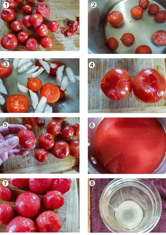 Preparing tomatoes process collage- details in recipe below.