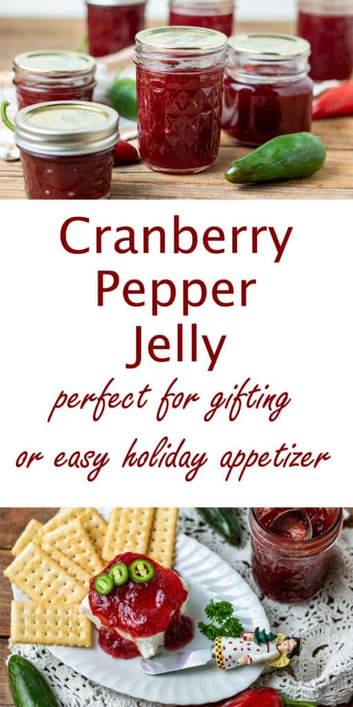 Cranberry jalapeno jelly Pinterest image with text overlay.