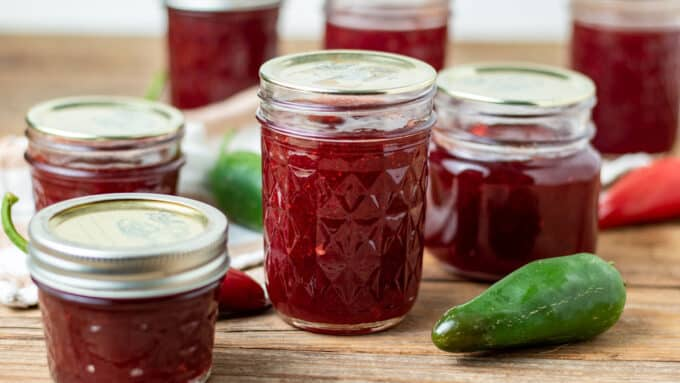 Jars of cranberry jalapeno jelly.