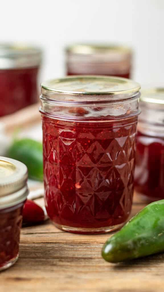 Canned Cranberry Jalapeno jelly in jars.
