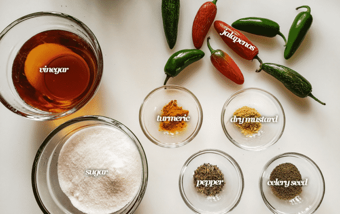 Ingredients for relish; peppers, sugar, vinegar, turmeric, dry mustard, pepper, celery seed.
