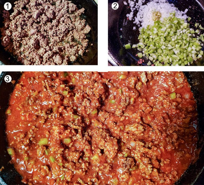 Process photos how to make sloppy joes. Details in recipe.
