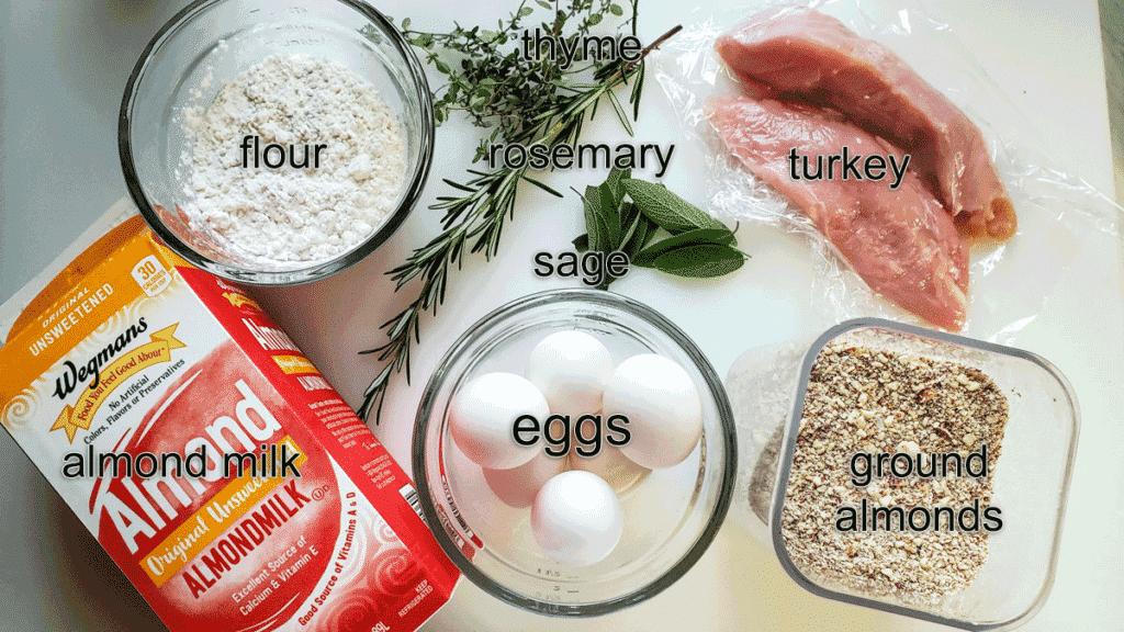 Ingredients for sauce; flour, thyem, sage, rosemary, sage, turkey, ground almonds, eggs, almond milk.