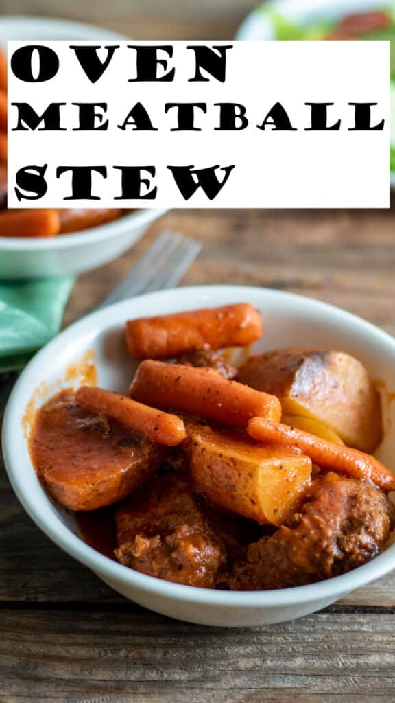 MEatball stew Pinterest image with text overlay.