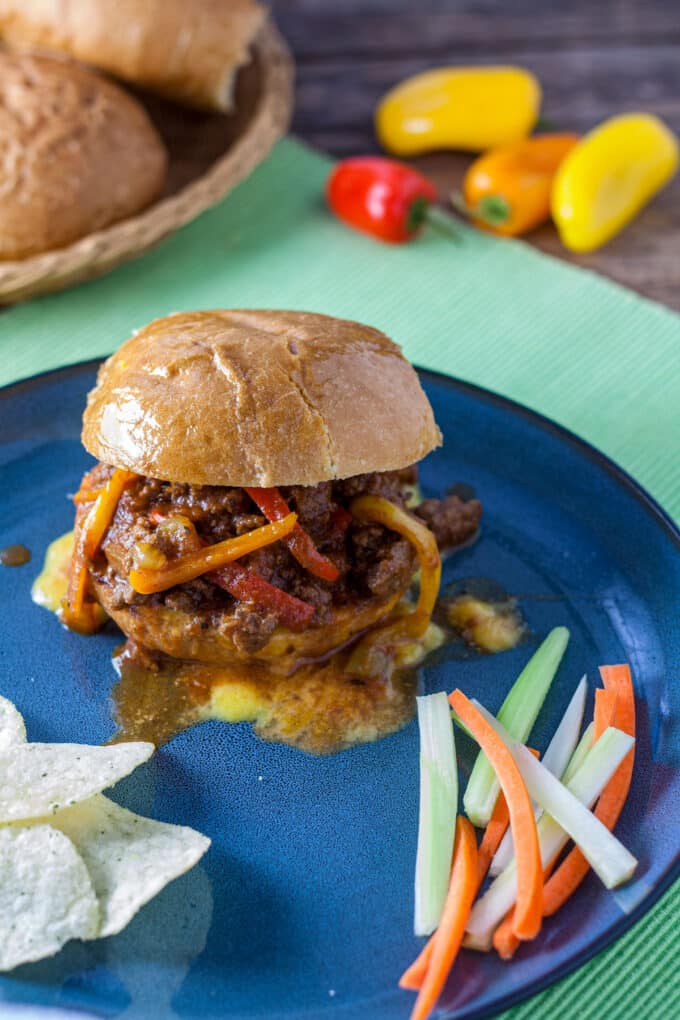 Sloppy joe with melted cheese.