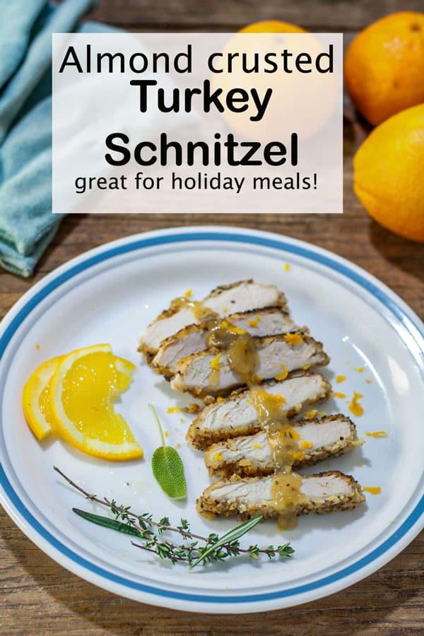 Turkey schnitzel Pinterest image with text overlay.