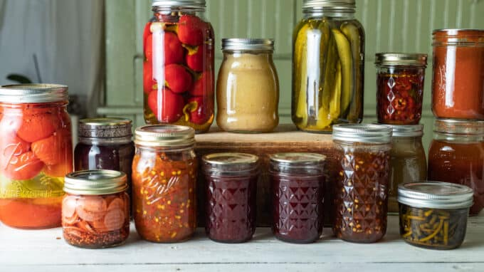 Jars of pickles, relish, tomatoes and jams.
