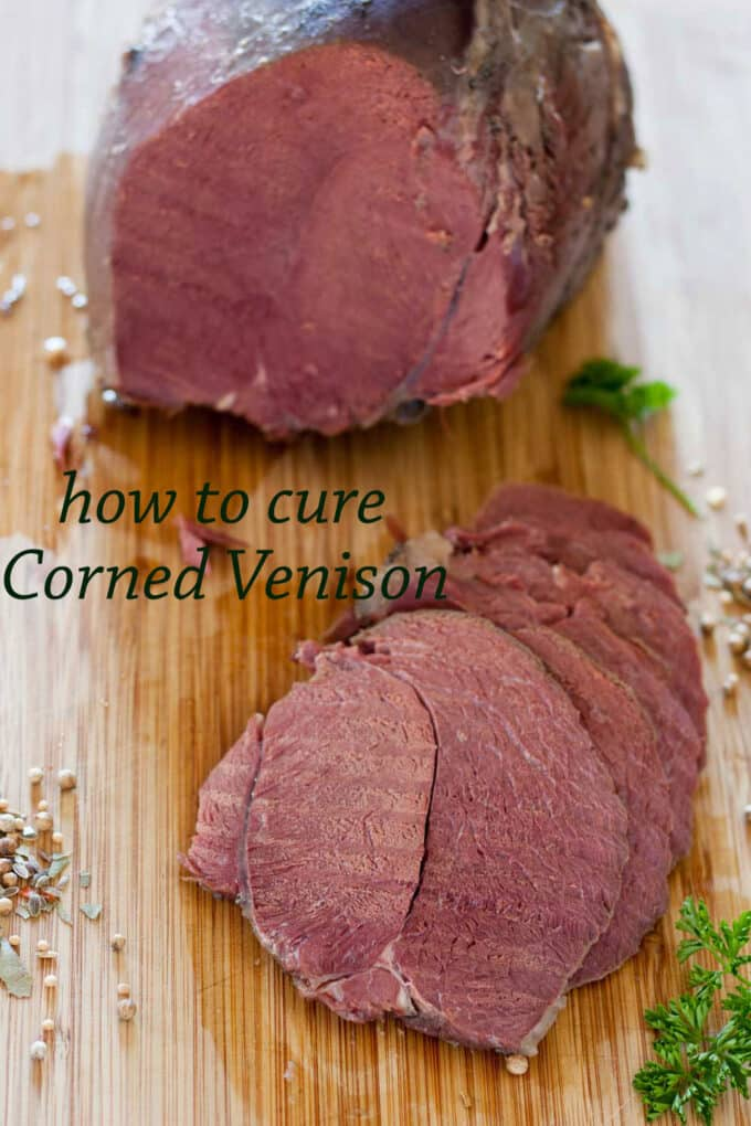 Curing corned venison Pinterest image with text overlay.
