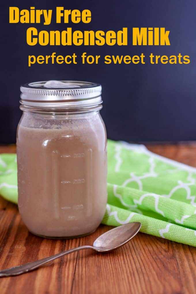 Dairy free condensed milk Pinterest image with text overlay.