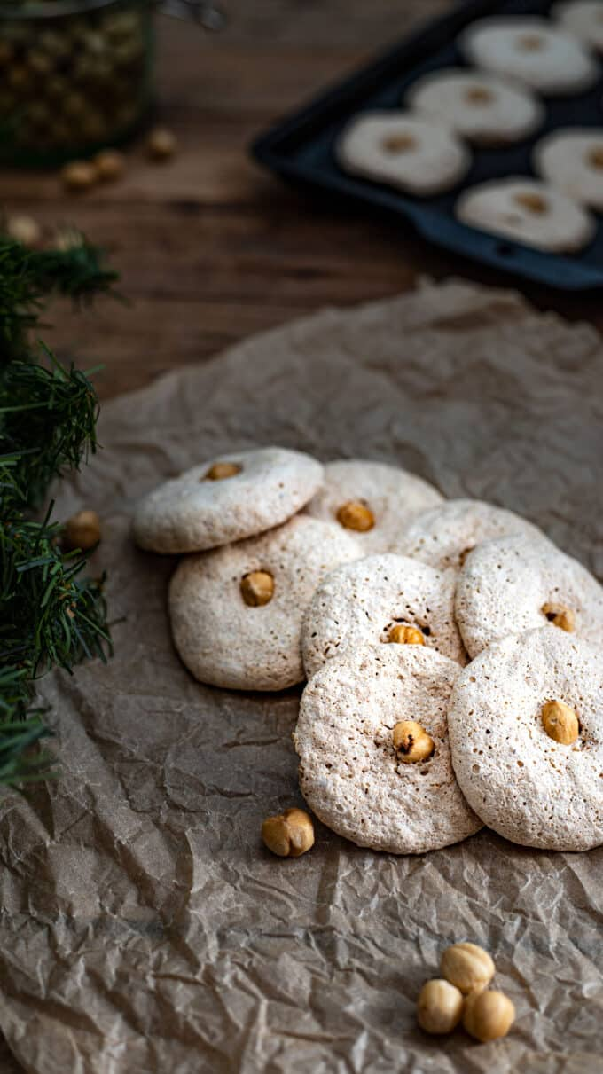 Close up of cookies on parchment paper.