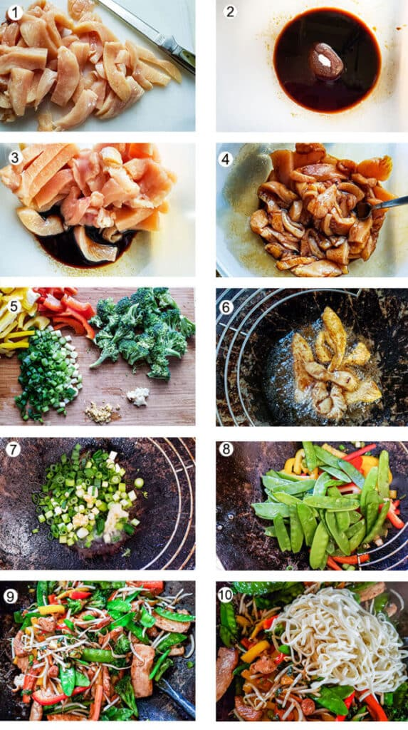 Step by step photographs of the process for making chicken lo mein. See details in recipe below.