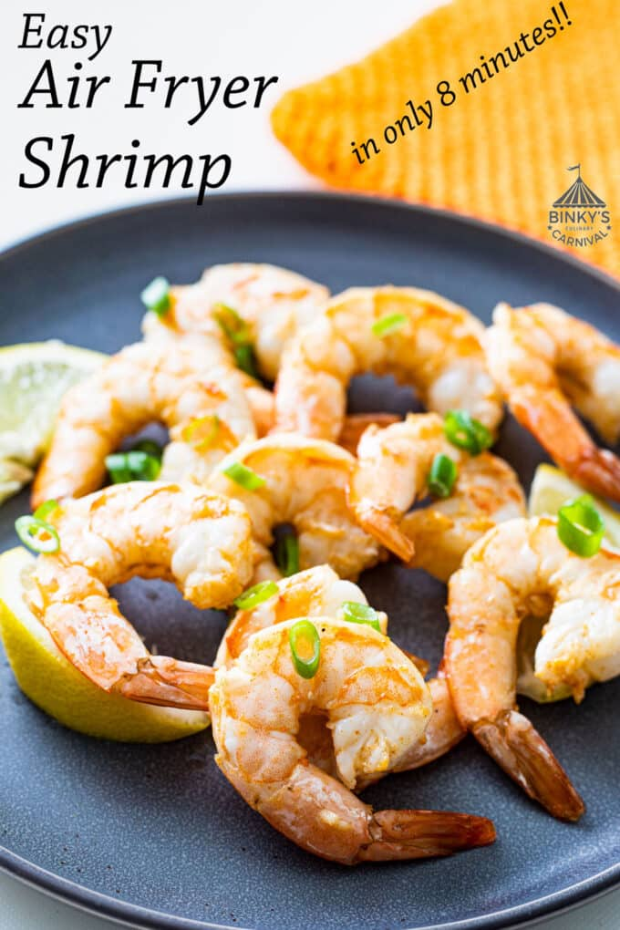 Air fried shrimp Pinterest image with text overlay.