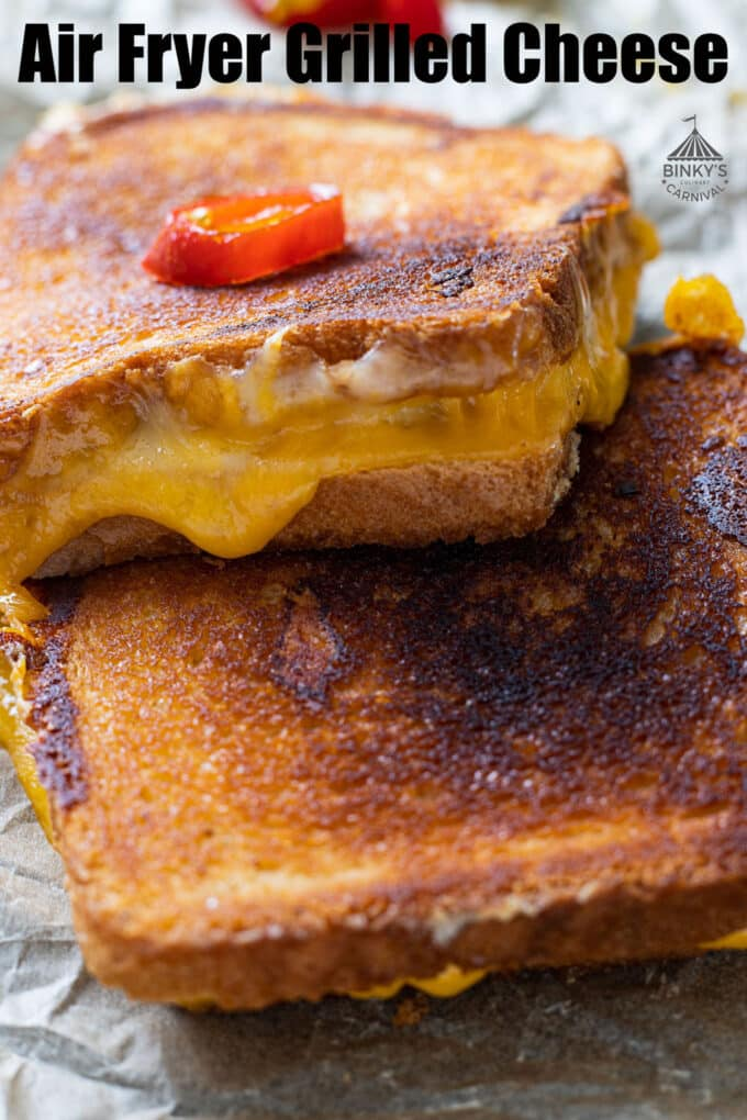 grilled cheese pinterest image with text overlay.