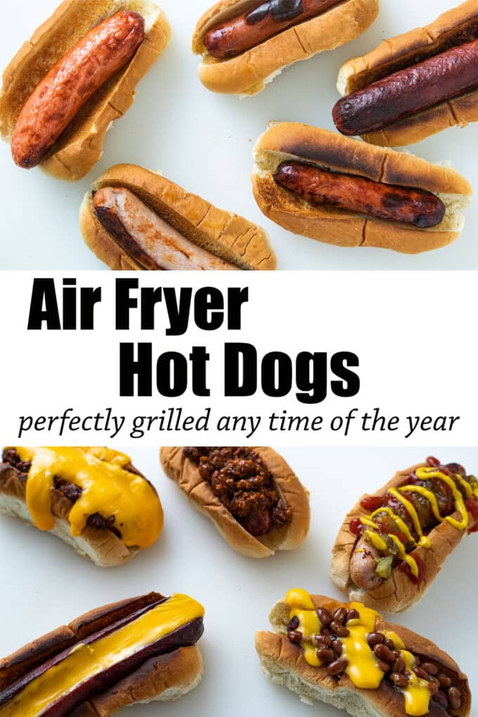 Air fried hot dogs Pinterest image with text overlay.