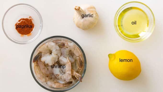 Ingredients for air fried shrimp. See details in recipe below.