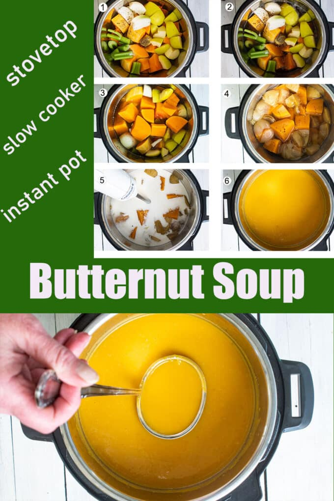 Butternut soup Pinterest image with text overlay