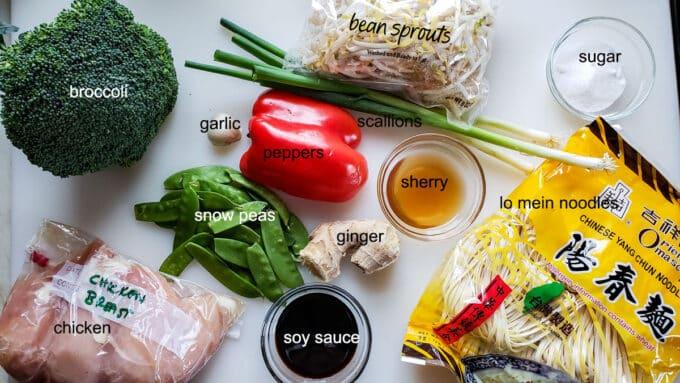 Ingredients for chicken lo mein. See details in recipe below.
