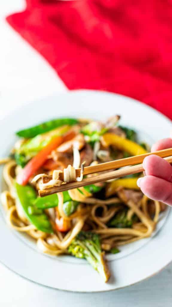Chopstick picking up noodles.