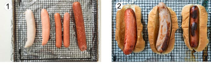 Process of making air fryer hot dogs. See details in recipe below.