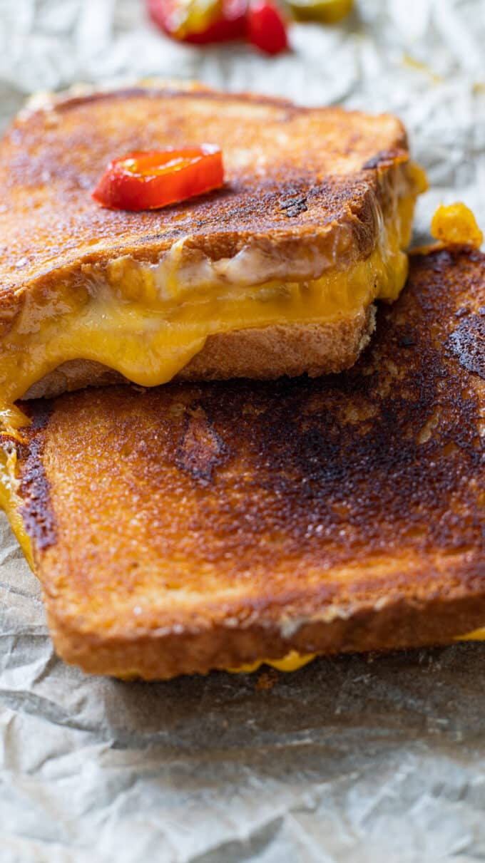 Close up of melty cheese.