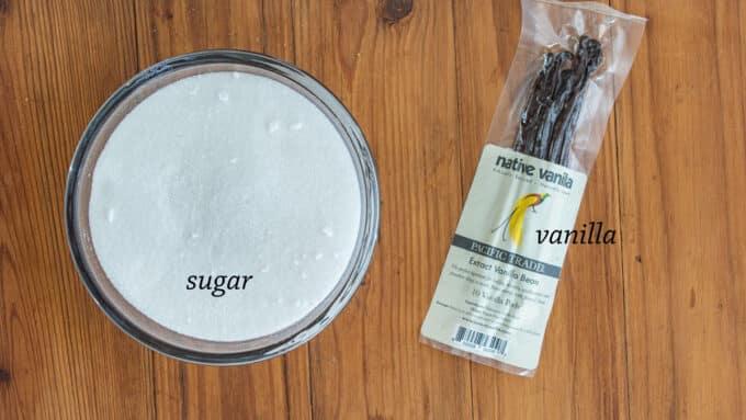 Ingredients for vanillin zucker - vanilla, sugar.