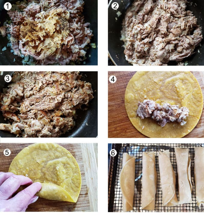 Assembling taquitos step by step process photos. See details in recipe below.