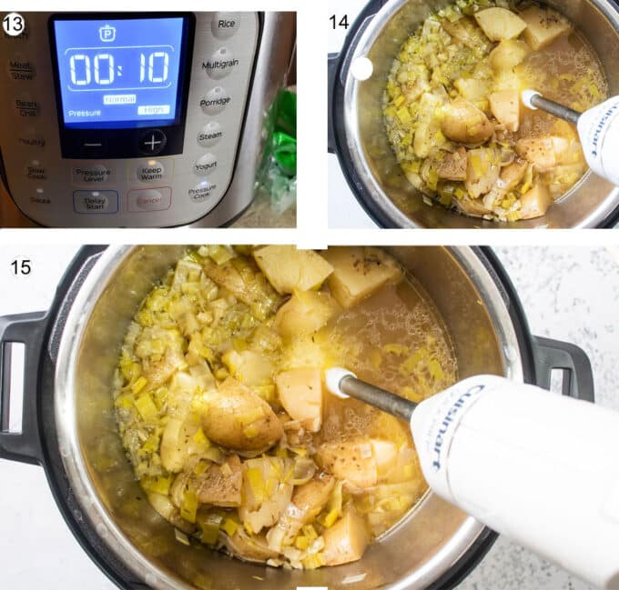 How to cook and blend soup photo collage. See details below.