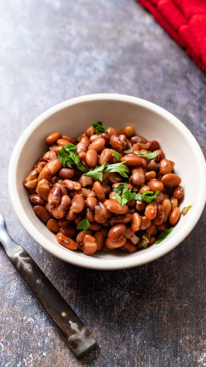 Beans in white bowl on gray background.