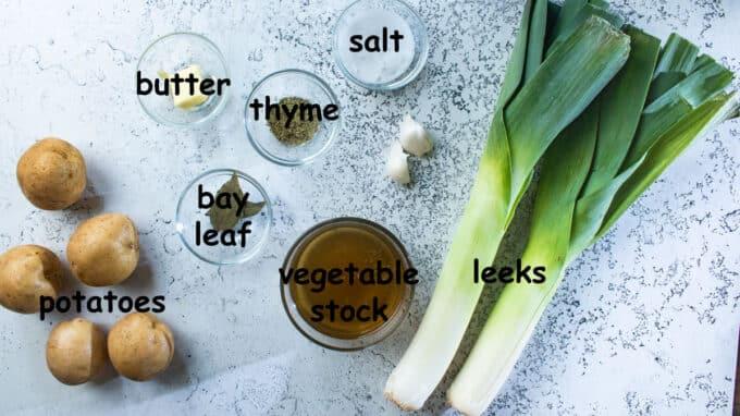 Ingredients for soup. See details in recipe below.