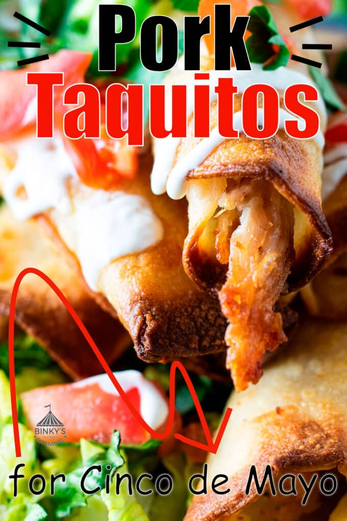 Pork taquitos Pinterest image with text overlay.